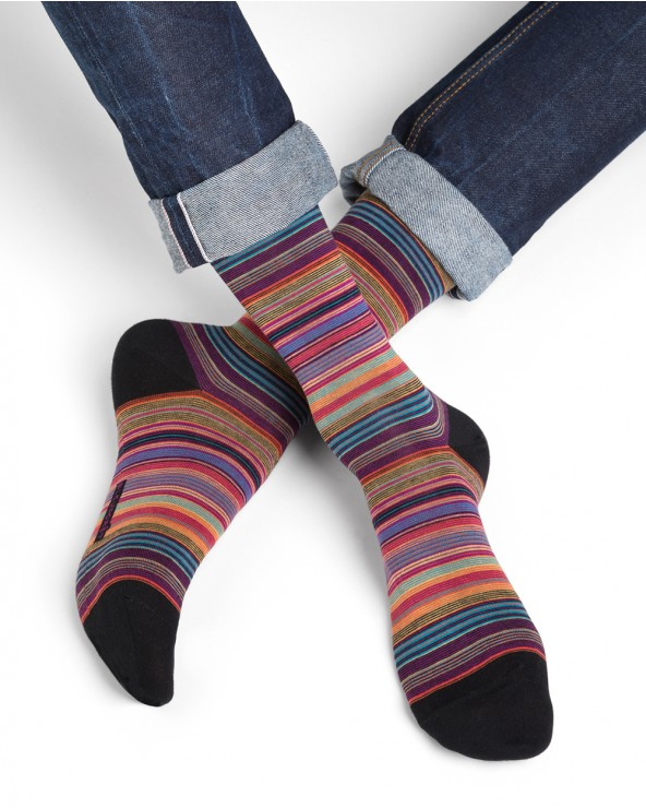 Chaussettes coton rayures fines